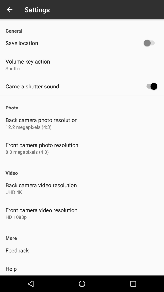Camera - General screen settings