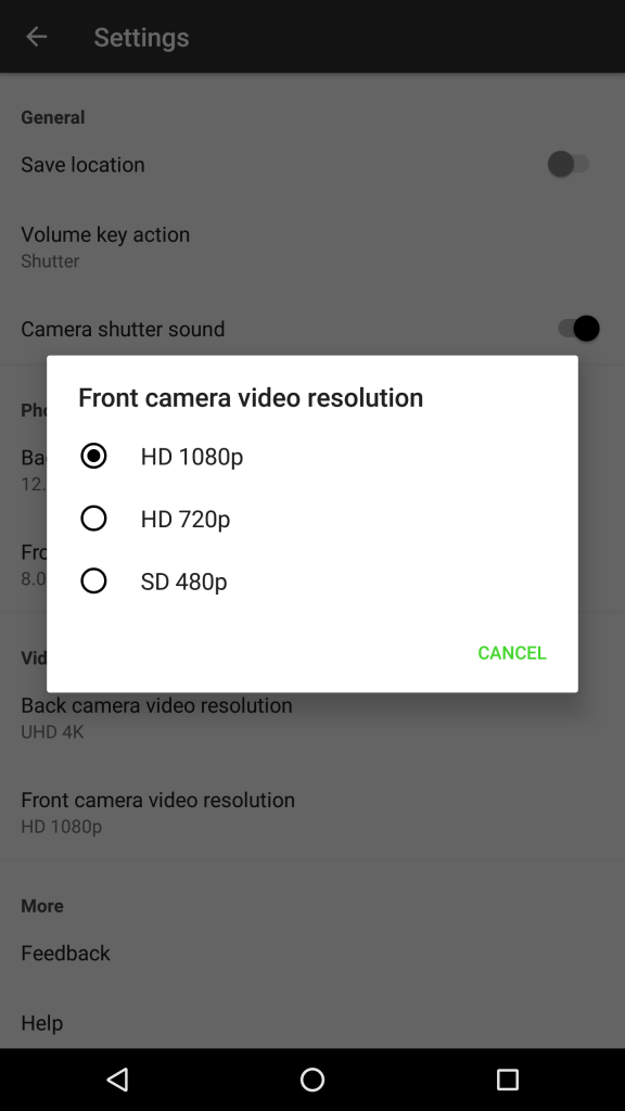 Camera - video - front camera resolution